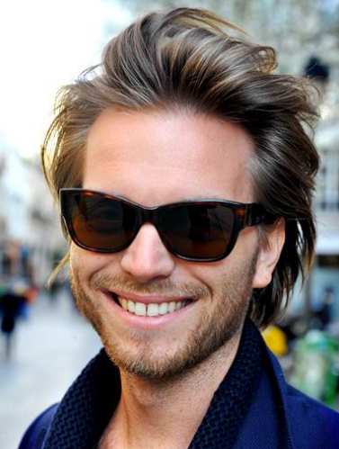 Men hot haircut in medium long length with smooth hair and
