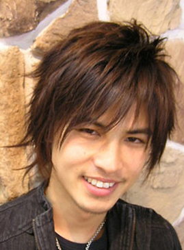 Trendy asian men hairstyle with full of sexy layers and long layered bangs.PNG