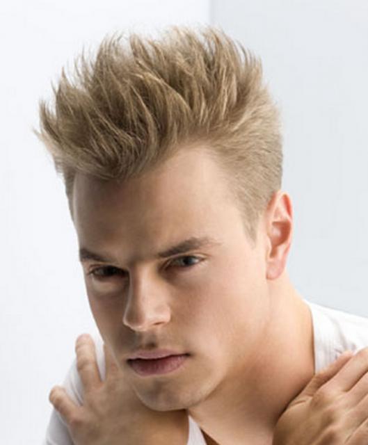 Photograph of Hight faux hawk men haircut light punk men hairstyle