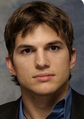 Hot actors pictures of Ashton Kutcher with his medium hairstyle that is short in the front and layered and long in the back.PNG