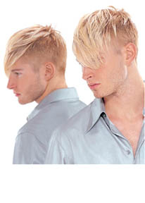 Men's Short Hair Style with bright blonde side bangs