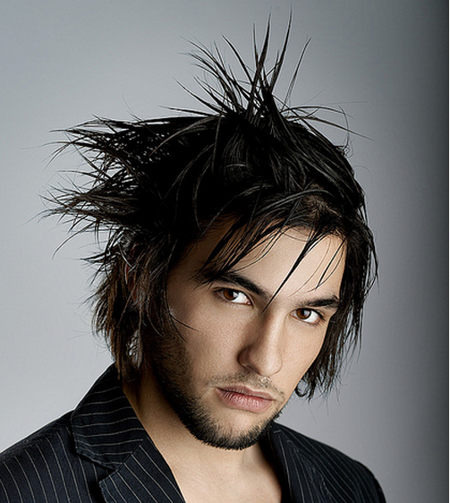 Long sexy razor shag men hairstyle with long bangs and spiky hair