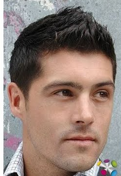 Men hairstyle with light spiky hair in the front